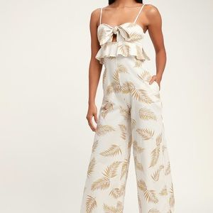 NWT Billabong Twist Flirt Palm Tie-Front Jumpsuit